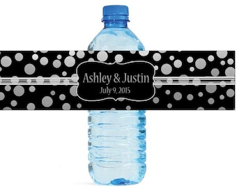 Silver Confetti on black background Wedding Anniversary Water Bottle Labels Customizable labels 2 sizes available