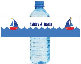 Sail Boat Theme Water Bottle Labels Great for Engagement Bridal Shower Wedding Anniversary Birthday Party