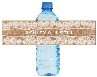 New Style Burlap and Lace Wedding Water Bottle Labels Great for Engagement Bridal Shower Party