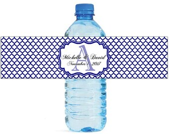Navy Blue Quatrefoil Moroccan Wedding Water Bottle Labels Great for Engagement Bridal Shower Party Birthday party