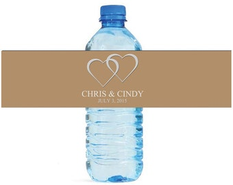 Iced Coffee and Silver hearts Wedding Water Bottle Labels Great for Engagement Bridal Shower Party