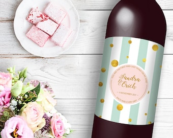 You Are The First and Last Thing On My Mind Wine / Beer Bottle Labels Great for Engagement Bridal Shower Party self stick easy to use Labels
