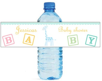 Baby Boy Giraffe Baby Shower Theme Water Bottle Labels Perfect for your Celebration and events with an animal circus theme