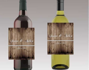 Rustic Wood Beer or Wine Bottle Labels Great for Engagement Bridal Shower Party