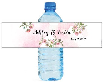 Watercolor Blush Peony Wedding Water Bottle Labels Great for Engagement Bridal Shower Birthday Party Easy to use self stick Birthday Bridal