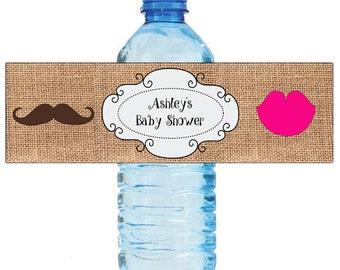 Burlap Mustache Lips Gender Reveal Baby Shower Water Bottle Labels Celebrations Baby coming boy girl Mustache
