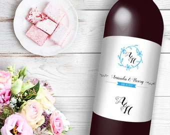 Elegant Initials Wine / Beer Bottle Labels Great for Engagement Bridal Shower Party self stick easy to use labels floral wreath