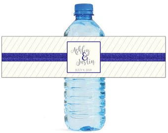 Blue Glitter & Pin stripes Wedding Water Bottle Labels Great for Engagement Bridal Shower Birthday Party event Family Reunion
