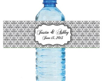 """Baroque Plant Wedding Anniversary Water Bottle Labels Great for Engagement Bridal Shower Party 8""""x2"""""""