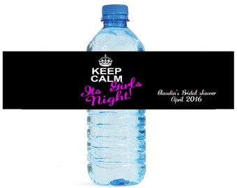 Keep Calm Its Girls Night Bridal Shower Bachelorette Water Bottle Labels Great for Engagement Bridal Shower Party