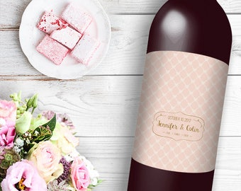 Pink Heart Pattern Wine / Beer Bottle Labels Great for Engagement Bridal Shower Party self stick easy to use labels