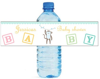 Baby Boy Monkey Baby Shower Theme Water Bottle Labels Perfect for your Celebration and events with an animal circus theme
