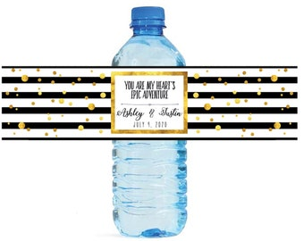 Gold Confetti on Black & White Stripes You Are My Heart's Epic Adventure Wedding Water Bottle Labels Great for Bridal Showers, Anniversary