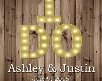 Rustic Wood and Marquee Letters I DO Wedding Beer or Wine Bottle Labels Great for Engagement Bridal Shower Party