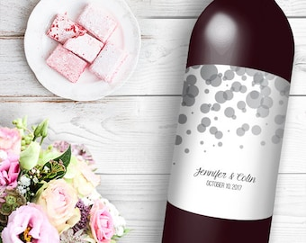 Black and White Bokeh Wine / Beer Bottle Labels Great for Engagement Bridal Shower Party self stick easy to use labels