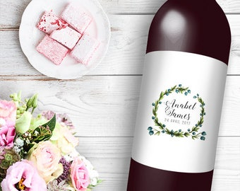 Elegant Wreath Wine / Beer Bottle Labels Great for Engagement Bridal Shower Party self stick easy to use Labels Floral