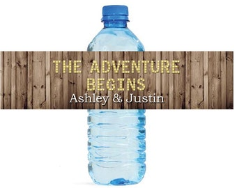 Rustic Wood Marquee Letters The Adventure Begins Wedding Anniversary Engagment Party Water Bottle Labels Customizeable self stick labels