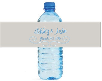 Modern Grey and Blue Wedding Water Bottle Labels Great for Engagement Bridal Shower Party easy to use self stick label