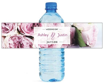 Wedding Day Titled Water Bottle Labels Great for Weddings, Engagement Bridal Shower Party Easy to use self stick labels