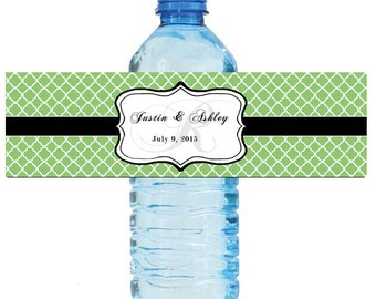 Pistachio Green Monogram Water Bottle Labels Great for Engagement Bridal Shower Wedding Party 2 sizes available