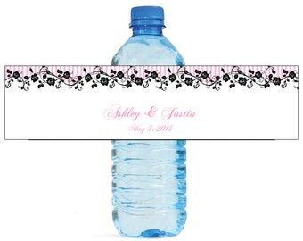 Pink Stripes with roses Water Bottle Labels Great for Engagement Bridal Shower Wedding Anniversary Birthday Party