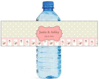 Shabby Chic Background Wedding Anniversary Water Bottle Labels Customizable labels 2 sizes available