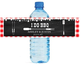 I Do BBQ Chalkboard & Gingham Wedding Water Bottle Labels Great for Engagement Bridal Shower Wedding Party easy to apply and use