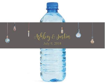 Hanging Edison Lamps Wedding Water Bottle Labels Great for Engagement Bridal Shower Party Self Stick, Easy to use