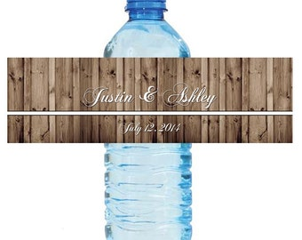 Rustic Wood style Wedding Anniversary Bridal Shower Water Bottle Labels Great for Engagement Party 2 sizes available