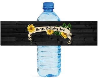 Sunflower Banner on Black Rustic Wood Wedding Water Bottle Labels Great for Engagement Bridal Shower Birthday Party Anniversary