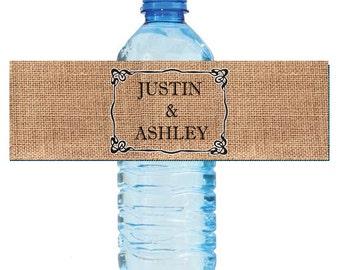 Burlap Names Wedding Water Bottle Labels Great for Engagement Bridal Shower Anniversary Birthday Party 2 sizes available