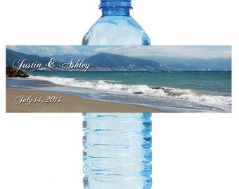 Beach style Wedding Anniversary Bridal Shower Water Bottle Labels Great for Engagement Party Destination