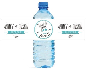 Thank you friends Wedding Water Bottle Labels Great for Engagement Bridal Shower Party love birds new contemporary wedding style