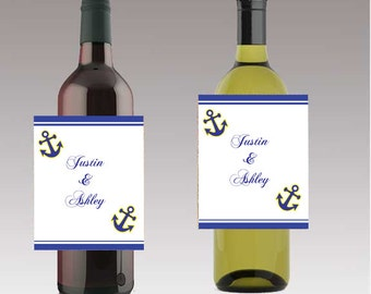 Anchor Nautical Wine or Beer Bottle Labels Great for Engagement Bridal Shower Party