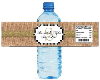 Burlap with Gold Glitter Stripe Monogram Wedding Water Bottle Labels Great for Engagement Bridal Shower Party