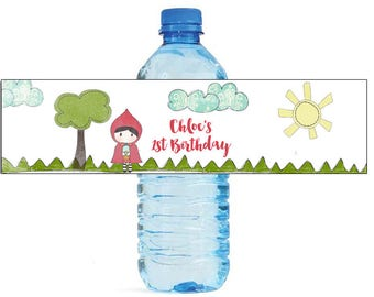 Little girl in forest Birthday party Water Bottle Labels great for all types of Celebrations baby shower get together housewarming