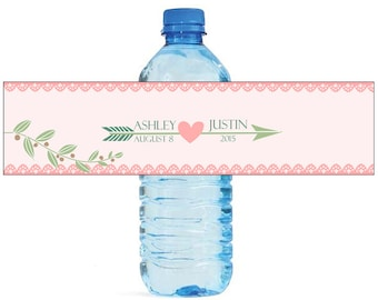 Arrow and Heart Wedding Water Bottle Labels Great for Engagement Bridal Shower Party
