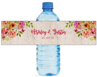 Bohemian Floral Wedding Water Bottle Labels Great for Engagement Bridal Shower Birthday Party or any other special events, easy to use