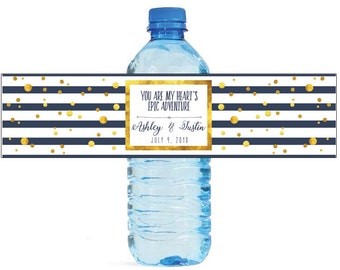 Gold Confetti on Blue & White Stripes You Are My Heart's Epic Adventure Wedding Water Bottle Labels Great for Bridal Showers, Anniversary