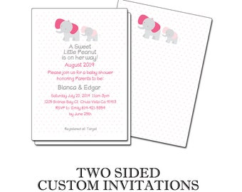 A Sweet Little Peanut is on her Way Two Sided Printed Customized Baby Shower Invitaions