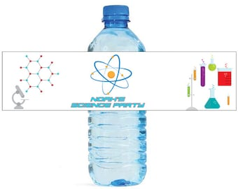 Science Theme Kids Birthday Water Bottle Labels Great for all sorts of parties and get togethers easy to use self stick labels Atom Beaker