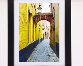 Bruges Narrow Street Oldworld Europe Belgium Neighborhoods Poster Colorful picturesque romantic city
