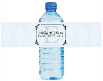 Monogram Wedding Anniversary Engagment Party Water Bottle Labels Customizeable self stick labels