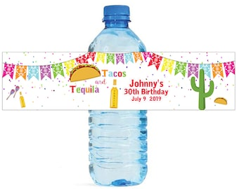 Tacos & Tequila Birthday Wedding Water Bottle Labels Great for Engagement Bridal Shower Party easy to apply and use