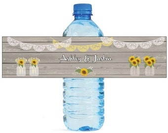Sunflower Vases on Rustic Wood Wedding Water Bottle Labels Great for Engagement Bridal Shower Wedding Party easy to apply and use