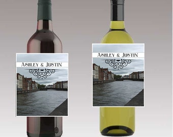 Bruges European Canals Wedding Beer or Wine Bottle Labels Great for Engagement Bridal Shower Party