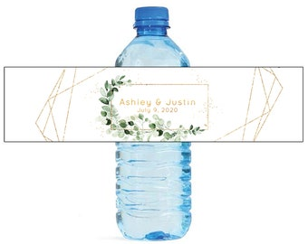 Ivy & Sage Golden Geometric Shapes Wedding Water Bottle Labels Great for Engagement Bridal Shower Birthday Party Sweet 16 Spring Party