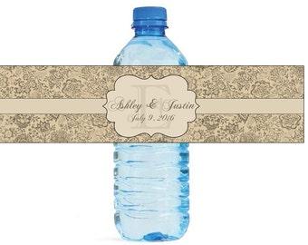 French Vintage Floral Monogram Wedding Water Bottle Labels Great for Engagement Bridal Shower Party