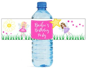 Fairy Princess Birthday Water Bottle Labels Great for Parties, and other children events easy to apply and use fairytale