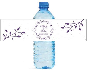 Lavender Wreath & Leaves Wedding Water Bottle Labels Great for Engagement Bridal Shower Birthday Party Sweet 16 Spring Party